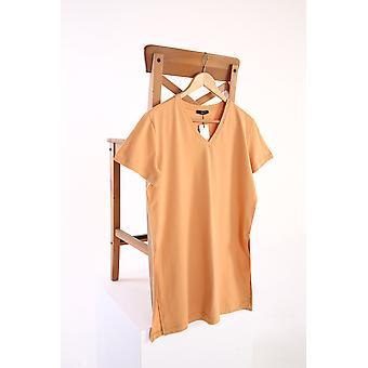V Neck Basic Slit Detailed Cotton T-shirt