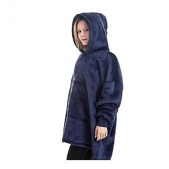Blanket Pullover Children Can Wear Hooded Blanket Pockets(Navy)