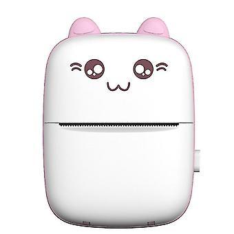 Mini Pocket Lämpötulostin Bluetooth Matkapuhelin Valokuvat Tarra Tulostuskone (Vaaleanpunainen)