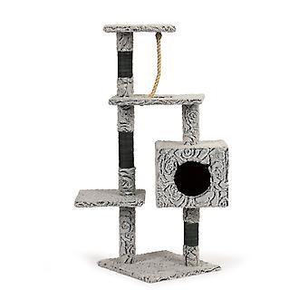 Katten krabpaal - pluche grijs - 39 x 39 x 108 cm - twee verdiepingen