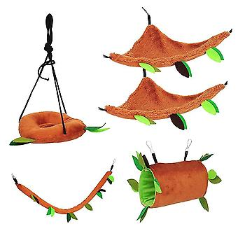 5Pcs hamster hammock set small animal hanging bed pet cage tunnel swing for squirrel hamster lc1286