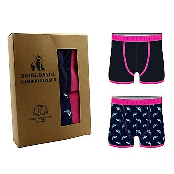 Swole Panda Bamboo Boxers 2 Pack - Pink/Navy Sharks