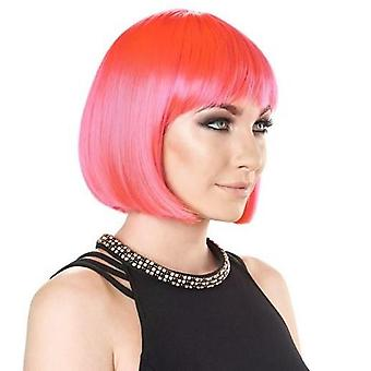 Party Wig - Bright Pink - Short Bob Wig - Bright Colours