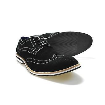 Gucinari C019/05 Mens Black Suede Formal Brogue Shoes