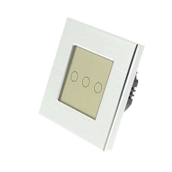 I LumoS Silver Brushed Aluminium 3 Gang 1 Way Touch LED Light Switch Gold Insert