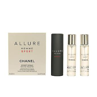 Chanel Allure Homme Sport EDT spray recarregáveis 3 X 20 ml para homens