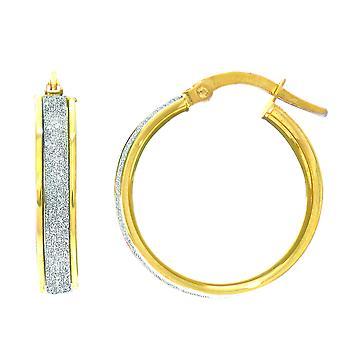 14 k Gold Glitter Hoop Earrings, Diameter 20mm
