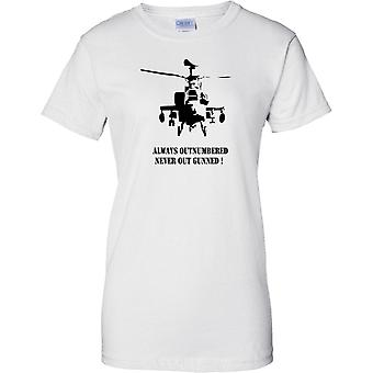 Apache AH-64 Always Outnumbered Never Out Gunned - Ladies T Shirt