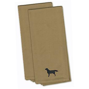 Tan czarny Labrador Retriever haftowane zestaw Ręcznik kuchenny 2