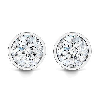 3/4CT lunette diamant goujons 14K or blanc