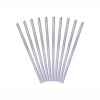 Paper Party Straws Iridescent Sparkly Silver 19.5cm long x 10