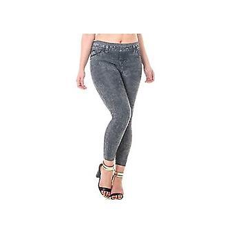 Thermal Skinny Jeggings Jeans High Waist Slim Fit Denim Look Seamless Warm Fleece Lining Trousers Black