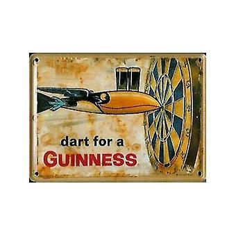 Guinness '' Dart för A..'' Metall vykort / Mini logga