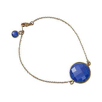 Bracelet Gemshine Femme Bracelet Or plaqué Saphir Blue Faceted 19 cm