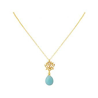 Ladies - necklace - pendant - 925 Silver - gold plated - Lotus Flower - mandala - turquoise - drops - blue - YOGA - 45 cm