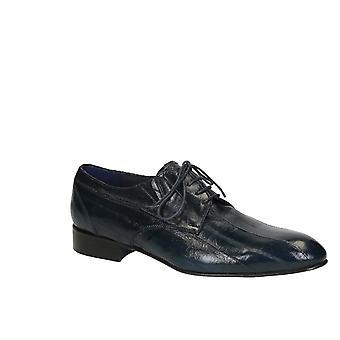 Chaussures habillées pour hommes en anguille bleue de la peau en cuir