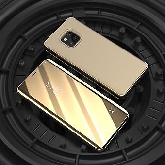 Para Huawei companheiro 20 Pro vista desobstruída espelho espelho tampa inteligente ouro luva protetora capa bolsa capa case novo caso acorde função
