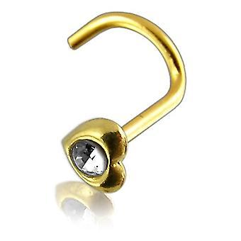 Nase Bolzen Schrauben Piercing 14 ct Gelb Gold, Körperschmuck, Herz mit Stein