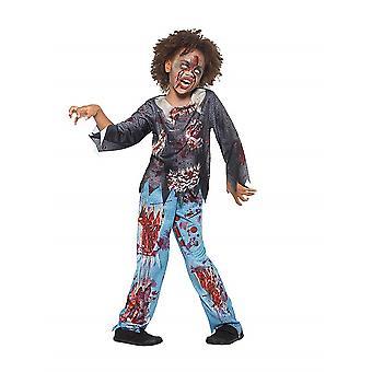 Zombie kostume Kids Multicolor med T-shirt og bukser Kids kostume Undead Carnival Halloween