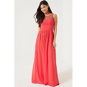 Little Mistress Coral Embellished Maxi Dress