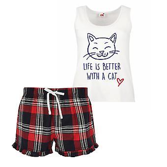Vida é melhor com um gato senhoras Tartan folho curto Pyjama conjunto vermelho, azul ou verde azul