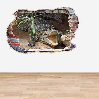 Full-Colour Krokodil fangen Wand 3D Effekt Wandtattoo