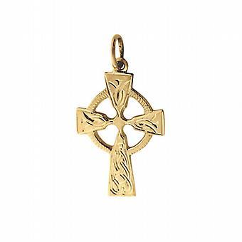 9ct goud 23x16mm hand gegraveerde knoop patroon Keltisch kruis