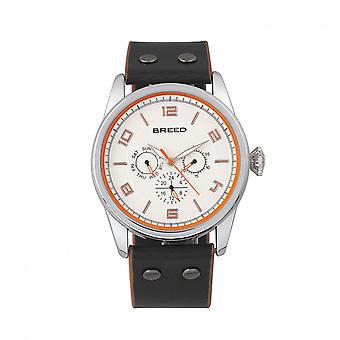 Breed Rio Leather-Band Watch w/Day/Date - Silver/Orange