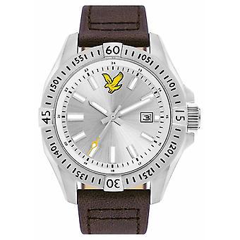 Lyle & Scott Mens taktiska brun läderrem Silver Dial LS-6017-02 Watch