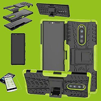 Sony xperia 1 6,5 tuuman hybridi tapauksessa 2 pala vihreä laukku case + karkaistu lasi tapausta