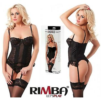 Amorable' by Rimba Lingerie Lace Basque,String, & Stockings (R1024)