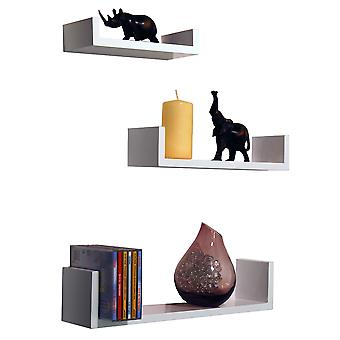 Melody - Wall Mounted zwevende Gloss Display opslag planken - Set van 3 - wit