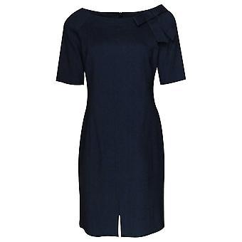 Marie Mero Denim Dress With 3/4 Sleeves & Boat Neck