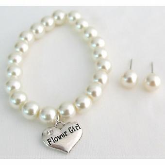 Bridal Shower smykker blomst pige armbånd & Stud Øreringe