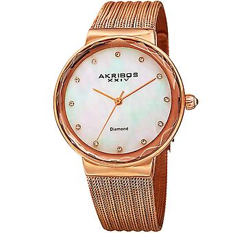 Akribos XXIV Frauen-Mutter-von-Perlen-Dial auf Mesh Armbanduhr AK1009RG
