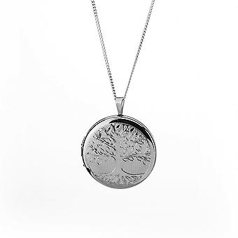 "Eternity Sterling Silver Rhodium Plated Round Tree Of Life Locket And 18"" Chain Eternity Sterling Silver Rhodium Plated Round Tree Of Life Locket And 18"" Chain Eternity Sterling Silver Rhodium Plated Round Tree Of Life Locket And 18"" Chain Eternity"