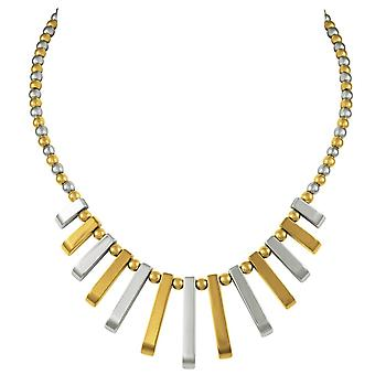 Eternal Collection Chemistry Silver And Gold Hematite Fan Beaded Necklace