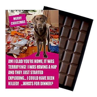 Chocolat Labrador Retriever Christmas Gift For Dog Lover Chocolate Greeting Card Xmas Présent