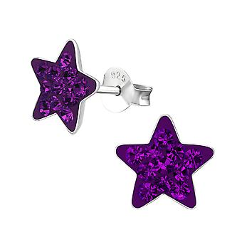 Star - 925 Sterling Silver Crystal Ear Studs - W2388x