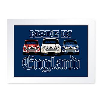 Made In England Classic Car Framed Poster Wall Art Garage Man Cave Shed Gift Him