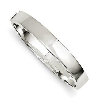 925 Sterling Silver Hollow Polished Flat edge Flat back Engravable Hidden catch Box Catch Closure 9.75mm Hinged Cuff Sta