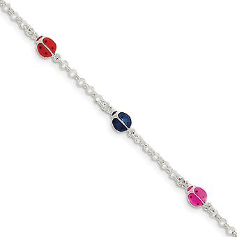Spring Ring Enameled Ladybug for boys or girls Bracelet 6 Inch Lobster Claw - 2.2 Grams