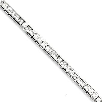 Stainless Steel Polished Fold over CZ Cubic Zirconia Simulated Diamond 7.5inch Bracelet Jewelry Gifts for Women
