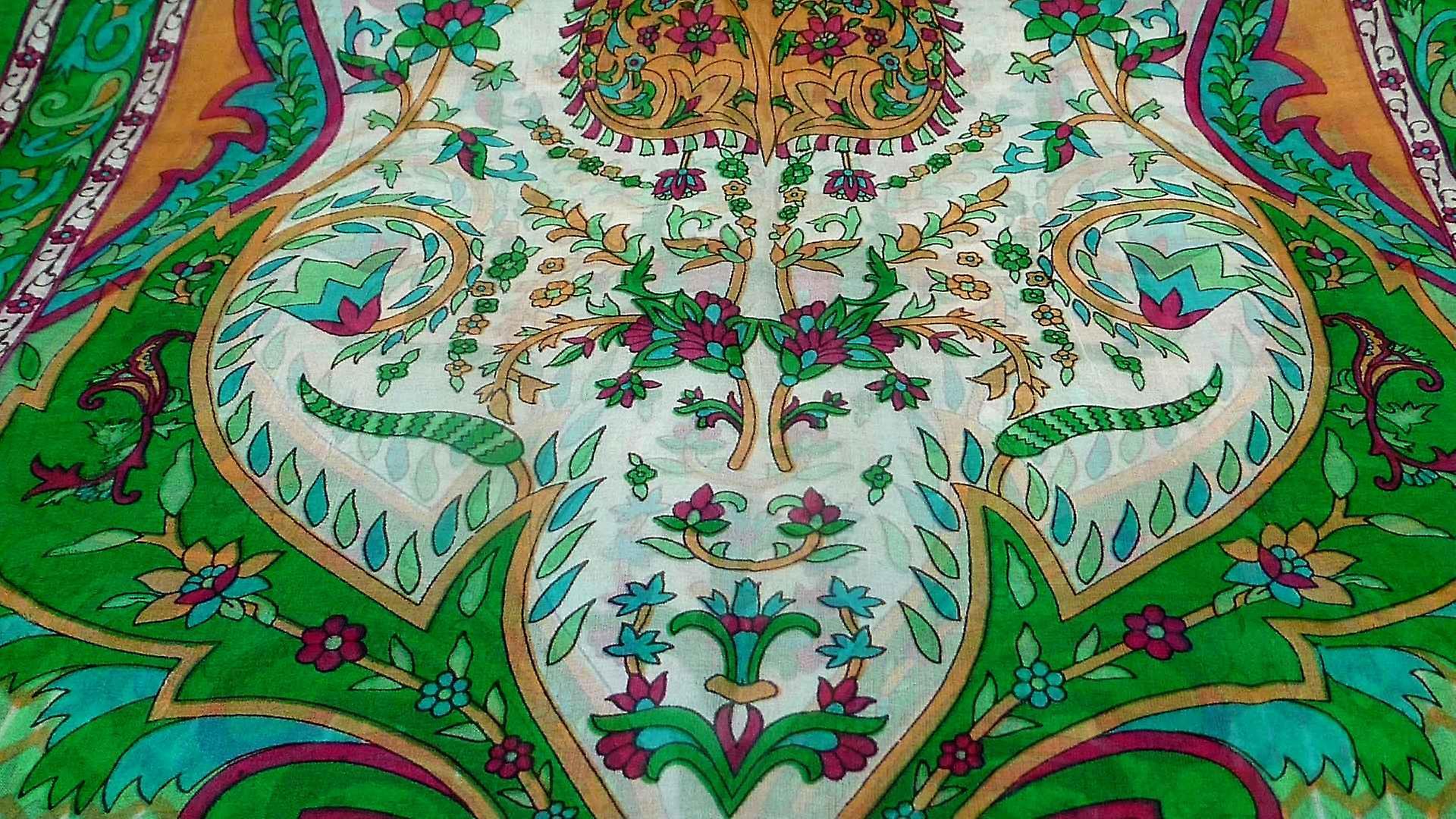 Mulberry Silk Traditional Long Scarf Shalmali Emerald by Pashmina & Silk