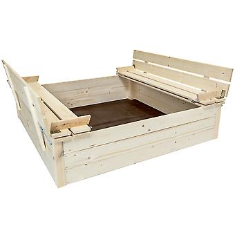 Charles Bentley Kids Children-apos;s Square Wooden Sand Pit With Seat Benches Charles Bentley Kids Children
