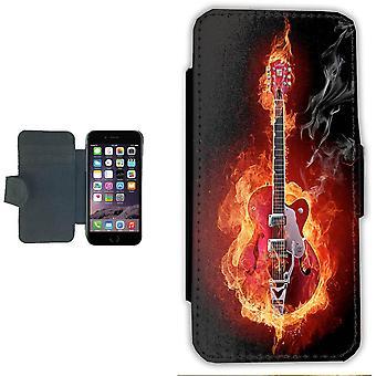 Fire Guitar iPhone 7/8 portemonnee Case geval foto portemonnee shell