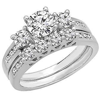 Dazzlingrock Collection 1.80 Carat (ctw) 14K Round Diamond Bridal 3 Stone Engagement Ring Set, White Gold