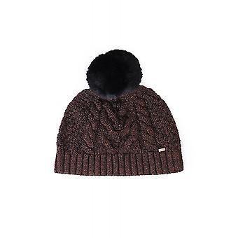 Ted Baker Womens Accessories Telinn Faux Fur Pom Metallic Knitted Hat