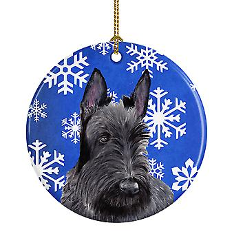 Scottish Terrier Winter Snowflakes Holiday Ceramic Ornament SC9386