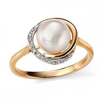 Elements Gold Elements 9ct Yellow Gold Button Pearl And Diamond Ring GR503W